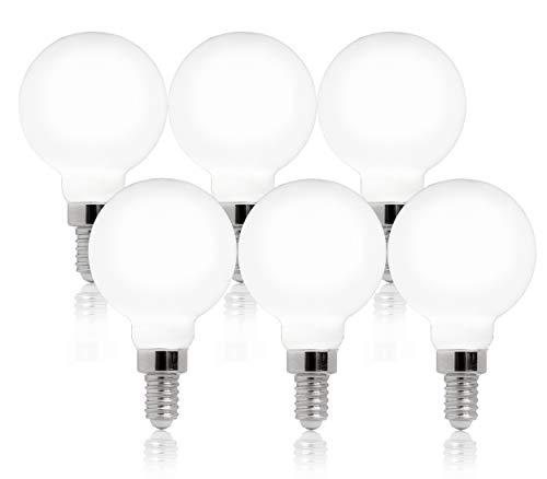 FLSNT 4000K Cool White LED G16 1/2 E12 Chandelier Candelabra Bulb,Dimmable Decorative Mirror Light Bulbs for Bathroom,4W(40W Equivalent),CRI80,450LM,6 Pack - Milky Glass Finishing