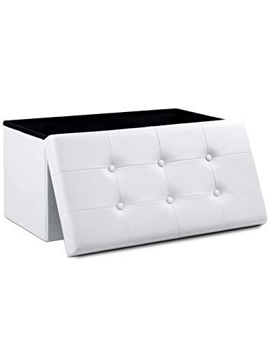 Theo&Cleo Leder Sitzhocker mit Stauraum 76 x 38 x 38 cm Faltbar Fußbank Truhen Aufbewahrungsbox (Weiß)