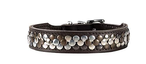 HUNTER ARIZONA Hundehalsband, Leder, mit Nietenbesatz, 37 (XS-S), braun