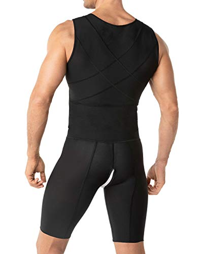 Leo Mens Post-Surgical and Slimming Firm Compression Bodysuit Shaper,Black,Small