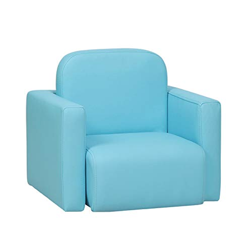 Radelldar Kids Sofa Multifunctional 2 in 1 Blue Children's Armchair Sofa Kids Chair and Table Set/Stool for Girls & Boys No-Assembly (Blue)