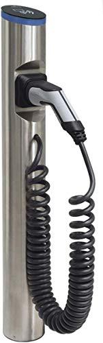Hesotec Electrify eSat r20 Base - EV Ladestation Typ 2 Elektroautos Hybridautos + Ladekabel und APP I Ladesäule 11 kW Ladeleistung 16 A Ladestrom – Ladegerät für E-Autos (Edelstahl)