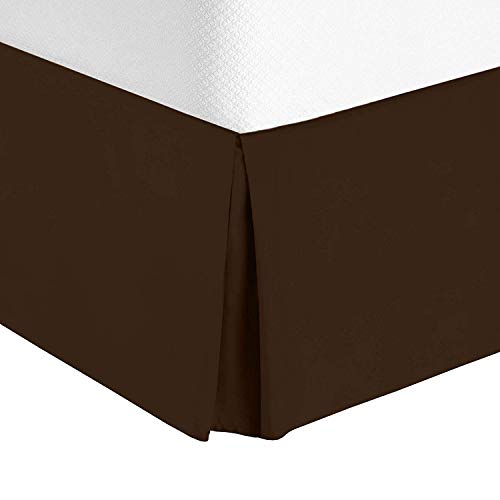 Valencia Beddings Split Corner Bed Skirt 21 Inch Drop Queen Size 100% Natural Cotton Wrinkle and Fade Resistant Queen Size, Brown Solid