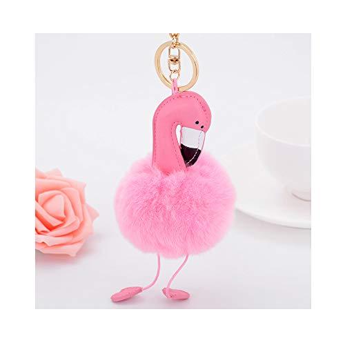 NWQEWDG Llavero de peluche para mujer, diseño de flamenco, color rosa y rojo