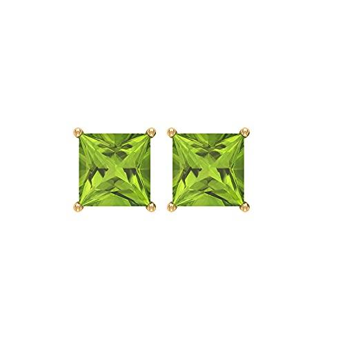 Rosec Jewels 14 quilates oro amarillo talla princesa Green Peridoto/Olivino