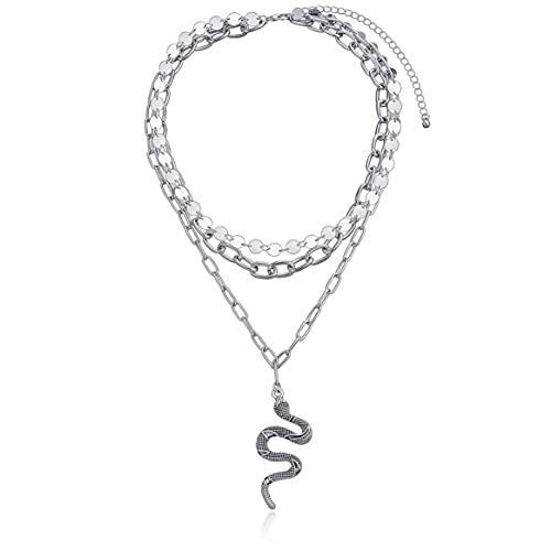 Yixikejiyouxian Collar de Mujer, múltiples Capas, Lentejuelas de Moda, Borla, Collar de Mujer, Multi-Elemento geométrico, Hip-Hop, Serpiente, Colgante, Collares, joyería de Mujer, Plata, 46 cm