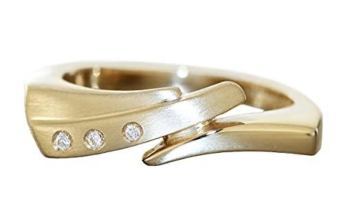 Hobra-Gold Anillo de diamante de oro 585 para mujer con 3 brillantes de 14 quilates, RW 56