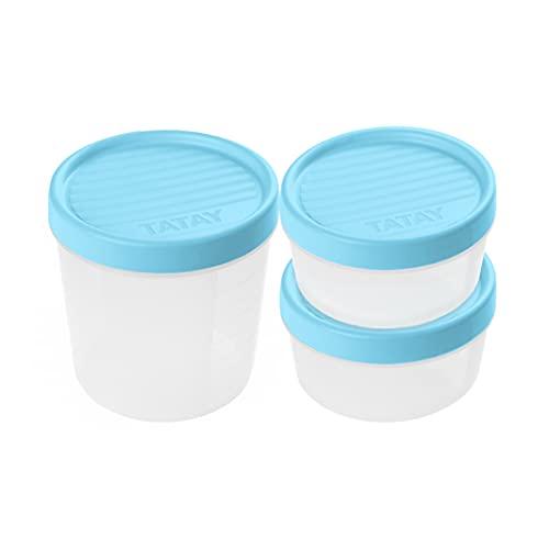 Tatay Set de 3 Fiambreras de Alimentos, 2 x 0.5L, 1 x 1L, Tapa de Rosca, Libre de BPA, Apto Microondas y Lavavajillas, Color Azul