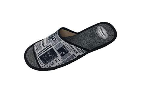 Zapatillas de Estar por casa/Biorelax/Primavera-Verano/Periódico/Color Gris/Puntera Abierta/con Cámara de Aire/Talla 41