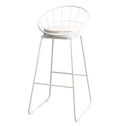 QQXX Barhocker Frühstücksstuhl Hochstuhl und Sitzkissen Rückenlehne Komfort Küche Frühstückstheke Gewächshaus Lager 150 Kg Weiß für Küche Pub Cafeacute; (Größe: 42 x 44 x 75 cm) 42 x 44 x 75 cm