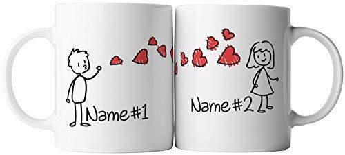 vanVerden Tassen 2er Set - Er & Sie Ich liebe dich Pärchen Herz Kuss - inkl. 2x Wunschname anpassbar personalisiert Valentinstag Geschenk Kaffeetassen, Tassenfarbe:Weiß/Rot