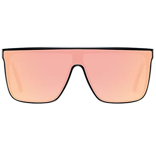 H HELMUT JUST Gafas de Sol Hombre Cuadrado Grande Lente de Nailon TR90 y Acetato Superior Plana Una Pieza
