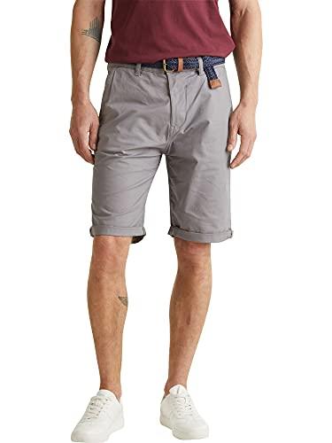 ESPRIT Herren Mit Gürtel, Baumwoll-Stretch Shorts, 030/Grey, 33