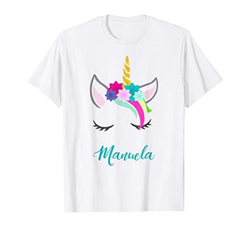 T-Shirt Personalizada Nombre Manuela Unicornio Camiseta