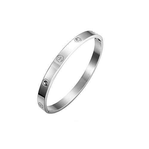 Silbernes Armband Titanstahl, Kreuz, Liebe, mit österreichischen Kristallen