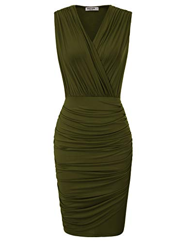 GRACE KARIN Women's Sleeveless V Neck Wrap Ruched Day Night Dress XXL Army Green