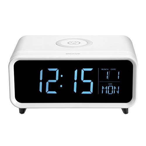 Kongqiabona-UK Carga Reloj Despertador Cargador inalámbrico de Alta definición con Pantalla LCD Digital Luz Nocturna Colorida Puerto de Carga USB Snooze Carga inalámbrica rápida