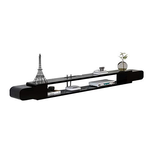 Hängeschrank Fernsehschrank aus Massivholz, TV Lowboard Hängeboard, geringer Platzbedarf, Platz für Multimedia-Player, Router usw, die im Wohn- / Schlafzimmer verwendet werden/Schwarz / 160×2