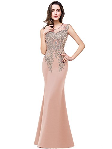 Babyonline Mermaid Lace Pageant Dresses Women Quinceanera Party Gown Nude