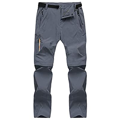 CARWORNIC Men's Outdoor Quick Dry Convertible Pants Lightweight Hiking Camping Cargo Shorts, Grey, 34W x 32L