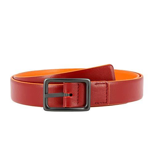 DUDU Damen Wende-Gürtel aus echtem Leder Made in Italy Bicolor Kürzbar H 24 mm mit Metallschliesse Rot von 100 cm