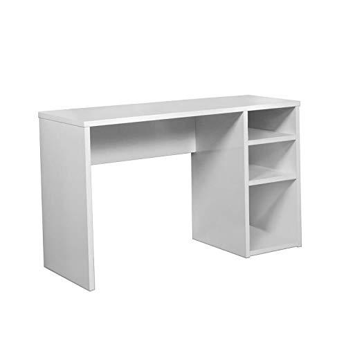 HOGAR24 - Mesa Escritorio, Mesa Estudio con 3 estantes, Color Blanco Brillo, Medidas: 120 x 75 x 50 cm de Fondo