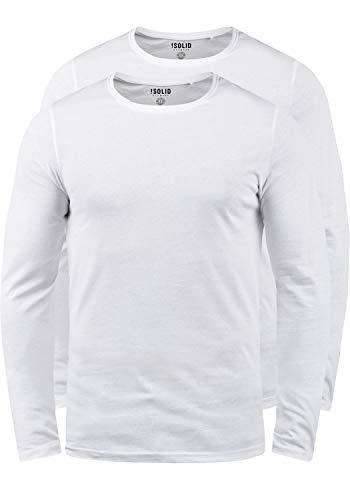 !Solid Basal Herren Longsleeve Langarmshirt Shirt Basic Aus 100{ef4a05d1b8d8125e572323a82de01eca9eae1916e9f54e6fe854b917cfc5781f} Baumwolle Mit Rundhalsausschnitt Im 2er Pack, Größe:XL, Farbe:White (0001)