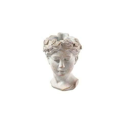 Pflanzgefäß Büste Antik - Frauenkopf zum Bepflanzen – Keramik Pflanztopf - Pflanzfigur Dekoration (Klein: Höhe 21cm)