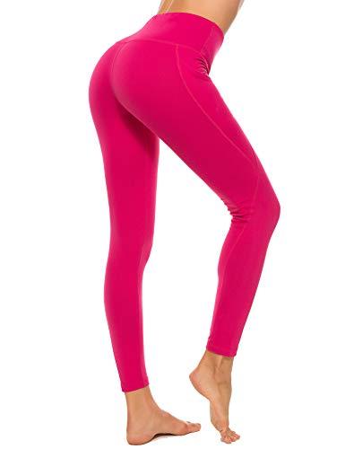 iWoo Laufhose Damen Yoga Lange Leggings Slim Fit Fitnesshose Pink Yogahose Sporthosen High Waist Sport Elastische Tummy Control Jogginghosen...
