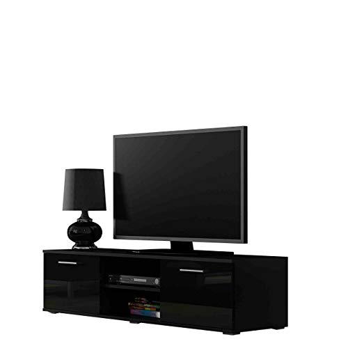 TV-Schrank mit 2 Türen, Hochglanz, 140 cm Schwarz