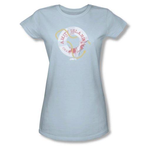 Jaws - Mujeres Salvavidas camiseta en azul claro, Large, Light Blue