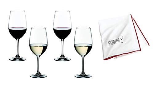Riedel Vinum 4 x witte wijn rode wijn set met glazen doek, Riesling Grand Cru/Zinfandel (7416/54 + 5010/07) voordeelset