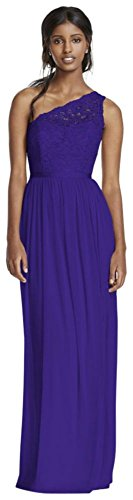 Long One Shoulder Lace Bridesmaid Dress Style F17063, Regency, 0