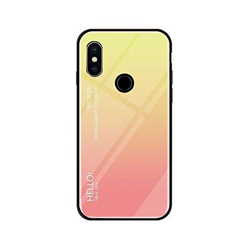 Funda Xiaomi Mi Mix 3 Vidrio Templado,Ultra Fina TPU + Cristal Templado Cubierta Trasera Carcasa Gradiente de Color es Durable para Xiaomi Mi Mix 3 (Xiaomi Mi Mix 3, Rosa + Azul)
