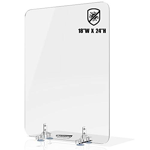 GUARDMATE | Premium Plexiglass Shield Sneeze Guard | 18'W x 24'H | L-Shape Acrylic Office Divider - Suction Cup Stand | Protection for Work Space Portable Plastic Barrier Shield Reception, Cubicles