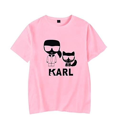 WONS T-Shirt Mode Karl Lagerfeld Drucken Kurze Ärmel T-Stück Beiläufig Lose Trikot Weich Gemütlich/Rosa/XS