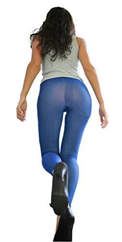 LinvMe Women's Hot Sexy See Through Sheer Mesh Long Pants Legging Blue