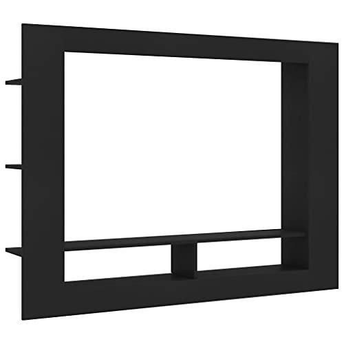 vidaXL Mueble para la TV Armario Muebles Auxiliar Aparador para Soporte Televisor Salón Habitación Decoración de Aglomerado Negro 152x22x113 cm