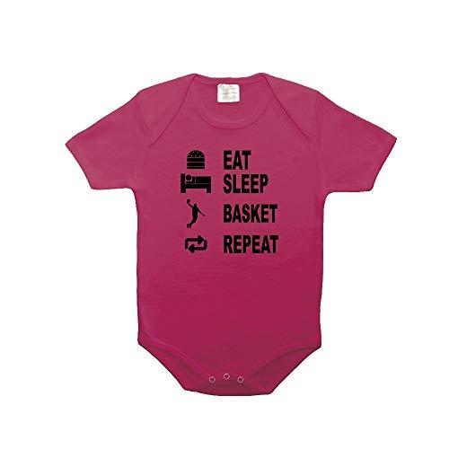 Mygoodprice Body bébé 100% Coton Eat Sleep Basket Fushia 18-23 Mois