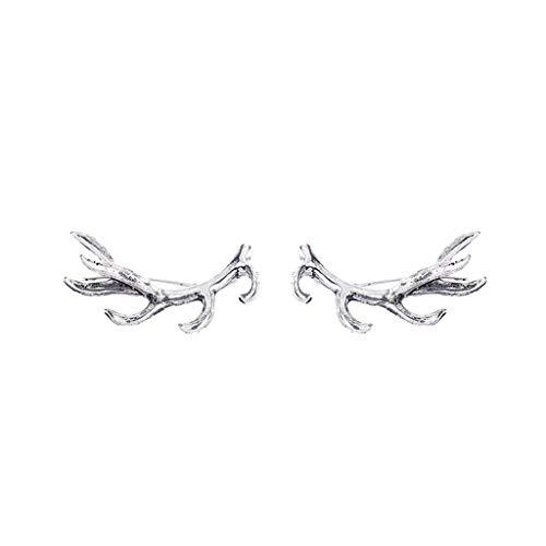 Earrings Antler Deer Earpin Boho Ear Crawler Wrap Earring Bohemian Jewelry Gift Islandse Silver