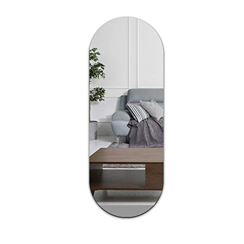 SPEEDYORDERS Oval Capsule Mirror Modern Minimalist Mirror 20 x 7.3 Inches Silver Mirror Pill Rounded Rectangle Mirror Acrylic Mirrors for Wall for Decoration Craft Home Camping