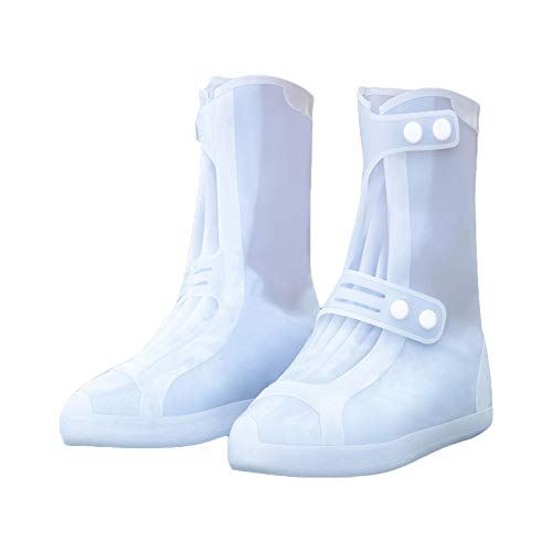 G-like Wasserdicht Rutschfest Schuhbezug Zubehör - Outdoor Regen Schutz Ausrüstung Verschleißfest Stiefel Schuhüberzug Weich Faltbar Dichte Sohle Passform für Damen Herren (2XL, Weiß (Hochstiefel))
