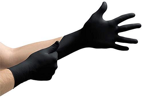 100 Stück Latexhandschuhe in Spender-Box – puderfrei, nicht steril – Einweghandschuhe Einmalhandschuhe schwarz (M)