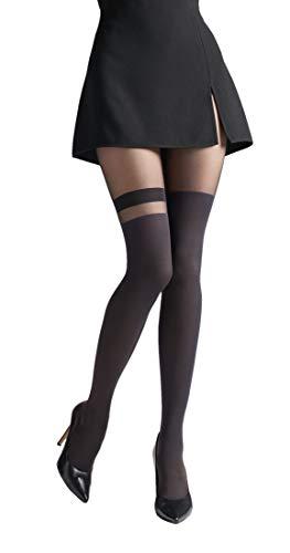 Marilyn Strumpfhose im Overknees look mit modischen Absatz, 60 Denier, Größe 40/42 (M/L), Farbe Schwarz (black)