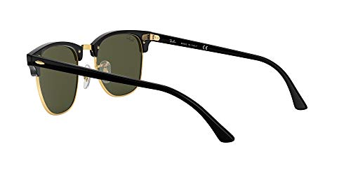 Ray-Ban RB3016 Clubmaster Square Sunglasses, Black on Gold/Green, 51 mm