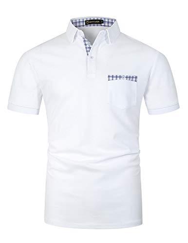 GHYUGR Herren Poloshirt Kurzarm Polohemd Karierte Spleiß Golf Polo T-Shirt,Weiß,S