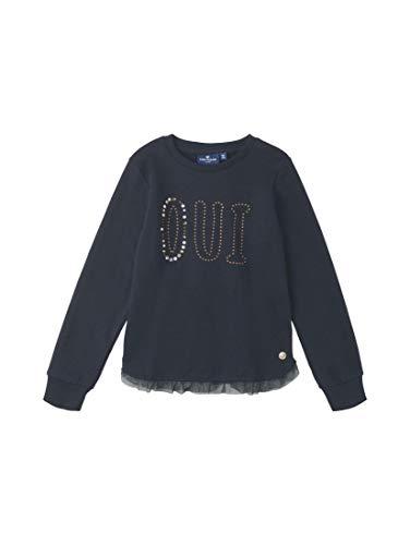 TOM TAILOR Kids Mädchen Placed Print Sweatshirt, Blau (Navy Blazer|Blue 3105), 116 (Herstellergröße: 116/122)