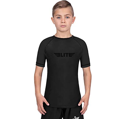 Elite Sports Rash Guards for Boys and Girls, Short Sleeve Compression BJJ Kids and Youth Rash Guard (Black, X-Small)