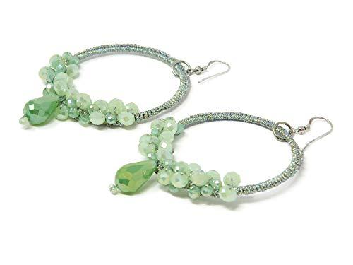 Pendientes de aro con cristales Swarovski verdes