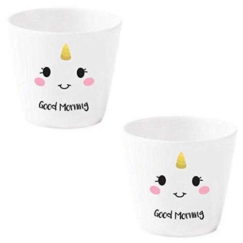 Eierbecher Set lustig Einhorn weiß Porzellan mit Gesicht *Happy* 2 Stück im Geschenk Karton
